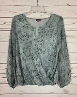 Vince Camuto Women's S Small Gray Grey White Long Sleeve Spring Top Blouse Shirt