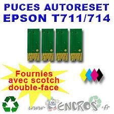RECHARGEABLE Lot de 4 Puces Auto-Reset EPSON COULEURS + NOIR De T0711 A T0714