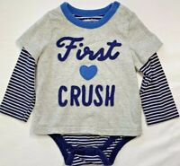 NWT Mini Baby Boden Boys 12-18 Months Blue Striped Wrap Bodysuit Organic