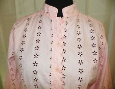 Pink Embroidered Shirt Eyelet Lace Button Down 3/4 Sleeve Medium Asian Style