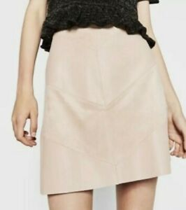 New faux leather A-line mini skirt from Zara, size M, pastel pink, RRP £25.99