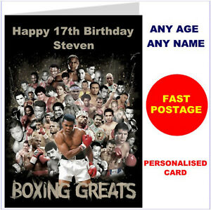Personalised Boxing Birthday Christmas Card boxer any name age boy son dad etc.