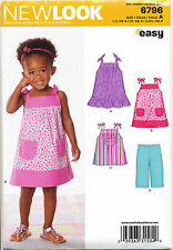 NEW LOOK SEWING PATTERN 6796 TODDLERS/GIRLS SZ ½-4 EASY SUN DRESS & CAPRI PANTS