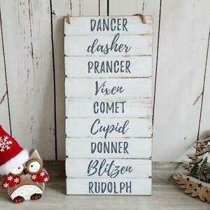 White Distressed Plank Effect Reindeer Names Christmas Wall Plaque
