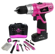 SERIOUSLY PINK 12V LITHIUM ION DRILL/DRIVER AND HAND TOOL ESSENTIAL KIT