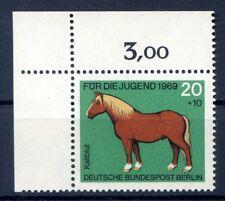 Berlin Mi-Nr 327  Ecke 1  (20+10) -Jugend;Pferde- ** Postfisch 1969