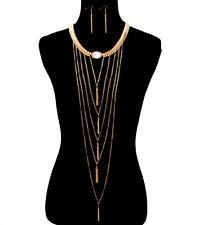 New 14k gold / rhodium color plated fringe tassle necklace&earrings set (pick 1)