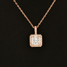 2017 Luxury Square Crystal Pendant Princess Necklace For Women Lady