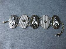 Vintage nice design black & creamy bees & faceted appliques plastic bracelet c