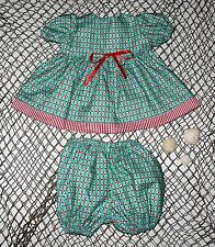"""Handmade Doll Clothes for 20"""" - 22"""" Baby Dolls """"Ahoy Matey"""" Red Green Dress Set"""