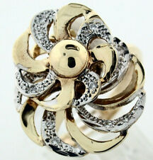 Motion Ring Dual Fan of 14k Gold and Diamonds - FL867