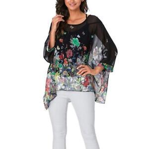 Women's Floral Printed Chiffon Caftan Poncho Tunic Top Sheer Beach Kimono Blouse