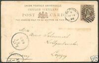 """BRITISH CEYLON TO GERMANY """"A"""" Cancel on Postal Stationery 1895 VF"""