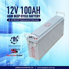 Slim Front Terminal 12V 100AH AGM Deep Cycle Dual Purpose Marine Caravan Battery