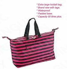 Roxy XL Black & Pink Striped Womens Girls Large Weekend Holdall Beach Gym Bag