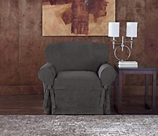 Sure Fit Chair Slipcover Everyday Chenille Collection Box Style Seat Gray / Grey