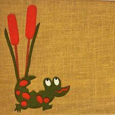 BULLETIN Message Memo Tack BOARD Burlap & Felt Fabric Alligator ~ Marsh Cattail