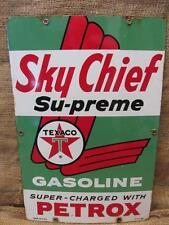 Vintage 1960 Porcelain Texaco Sky Chief Gas Station Sign > Antique Old Oil 9658