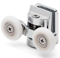 4 x Twin Top Shower Door Rollers/Runners/Wheels 23mm wheel dia (6mm glass) L067