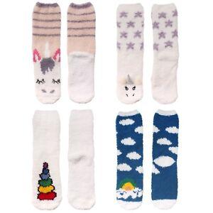 Women's Super Soft Warm Microfiber Fuzzy Cozy Fun Cute Unicorn Crew Socks Series