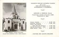 Minneapolis MN~Nazareth English Lutheran Church~ELC~Smestad Pastor~1950s PC