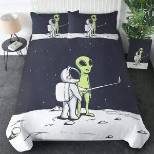 Alien Astronaut Cartoon Moon King Queen Twin Quilt Duvet Pillow Cover Bed Set
