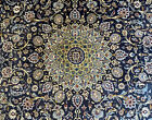 """9'10""""x12'9"""" ANTIQUE HAND-KNOTTED -KASHANI VINTAGE WOOL NAVY RUG Very Detailed A+"""
