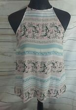 Pretty Womens Pink Blue Ditsy Floral Top UK 10 Vest Cami Sheer Floaty