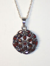 "NEW STERLING SILVER GARNET CLUSTER 7/8"" PENDANT ON 18 INCH ROPE CHAIN NECKLACE"