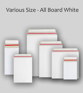 White All Board Envelopes All Sizes Cardboard Strong Mailers C3 C4 C5 DL
