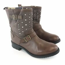 Pepe Jeans Size 39 UK6 Brown Leather Ankle Buckle Studded Biker Booties Boots
