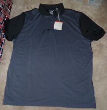 NEW PUMA Golf Polo Shirt Men XL X-Large Charcoal Grey Gray Black Tailored Fit NW