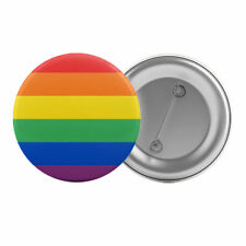 "Gay Pride Rainbow Flag - Badge Button Pin 1.25"" 32mm LGBT Lesbian Queer"