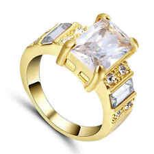 Women's White Sapphire Wedding Band Ring yellow Rhodium Plated Size 9