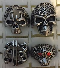 4x Biker Skull Rings Solid Stainless Steel Size V US 10.5 Ring $ Sign Leopard SS