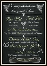 Personalised Engagement Love Chalkboard Print Gift keepsake Bespoke A4