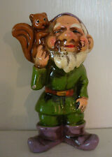 """Vintage Dwarf Gnome 4"""" Ornament Made in Japan 1960's Green w/ Squirrel #2"""
