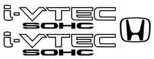Honda I-Vtec SOHC Decal Stickers Set of 3  Civic Accord Prelude CRX SI Black 3