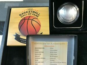 2020-P Basketball Hall of Fame Uncirculated Silver Dollar w/Box and COA