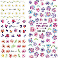 Nail Art Water Decal Colorful Flower Theme Manicure Transfer Sticker DIY
