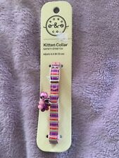 New listing Kitten safety stretch collar adjusts to 8 in multi color with bell and charm