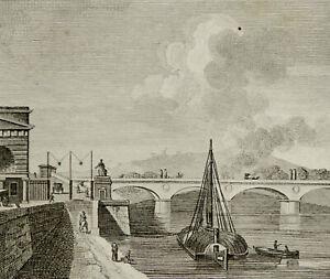 1818 Antique view of PARIS: PONT des INVALIDES. France. 202 years old engraving.