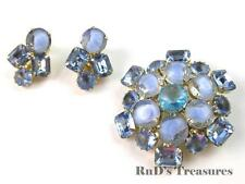 Vintage Baby Blue Givre Art Glass & Rhinestone Brooch & Clip On Earrings Set