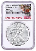 2016-(S) Silver Eagle Struck at San Francisco Mint NGC MS70 Trolley Lbl SKU46776