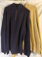 Tommy Bahama Mens L Yellow Purple Flipsider Half Zip Sweaters Lot Of 2
