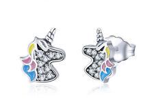 925 Sterling Silver - Unicorn Stud Earrings for Women & Children