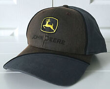 John Deere Gray & Coated Distressed Brown Hat Cap Adjustable
