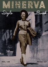 Minerva Knitting Book #49 c.1937 Vintage Patterns for Women's WWII Era Fashions