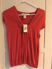 MAX STUDIO Womens Orange Sleeveless Shirt Size Medium Knot Front NWT Stretch