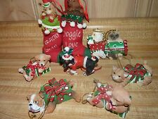 Lot of 8 resin dog / cat Christmas ornaments Dachshund, Ragdoll or Persian cat
